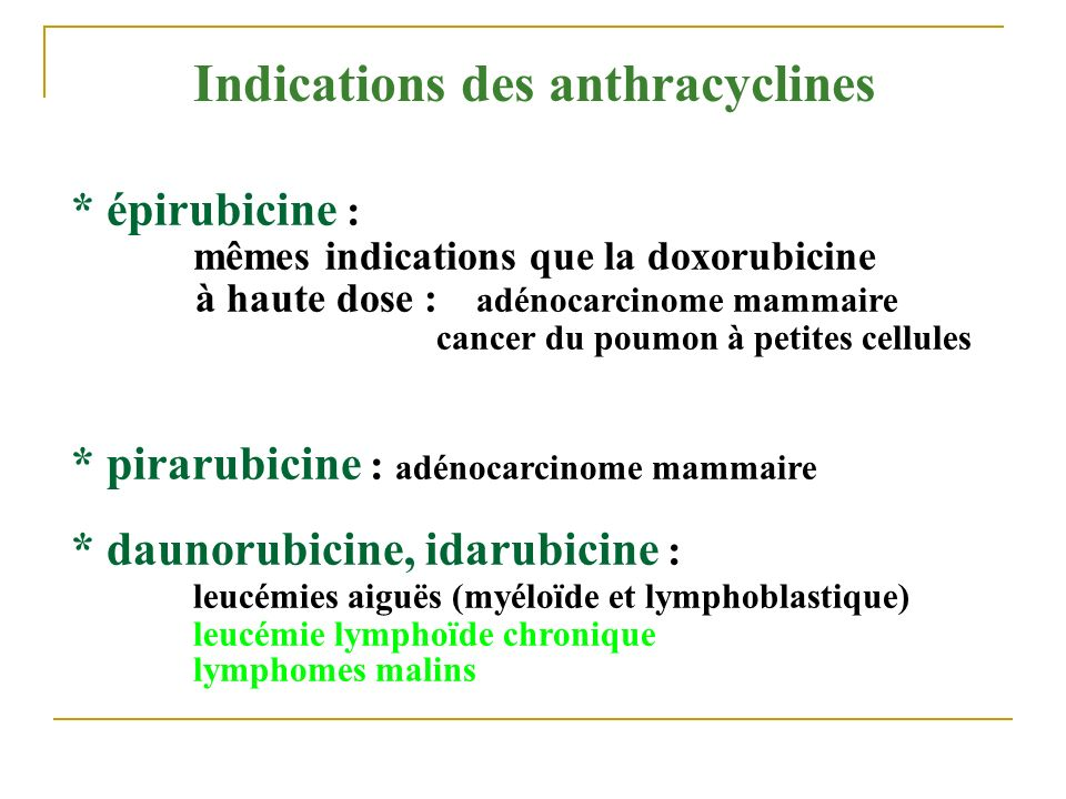 Indications des anthracyclines