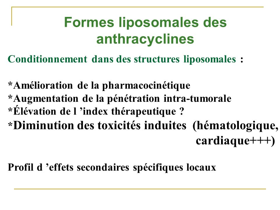 Formes liposomales des anthracyclines