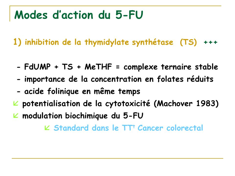  Standard dans le TTt Cancer colorectal
