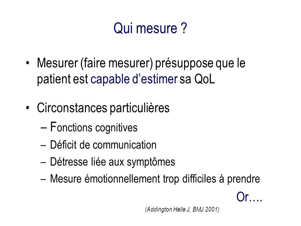 Qui mesure Mesurer (faire mesurer) présuppose que le patient est capable d'estimer sa QoL. Circonstances particulières.