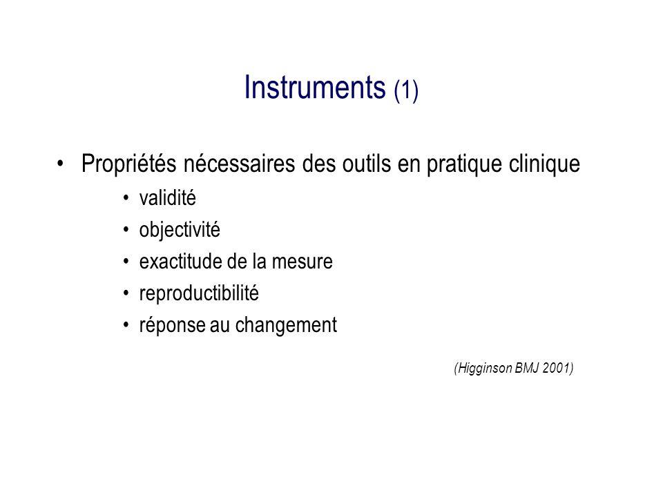 Instruments (1) Propriétés nécessaires des outils en pratique clinique
