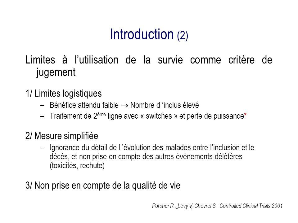 Introduction (2) Limites à l'utilisation de la survie comme critère de jugement. 1/ Limites logistiques.