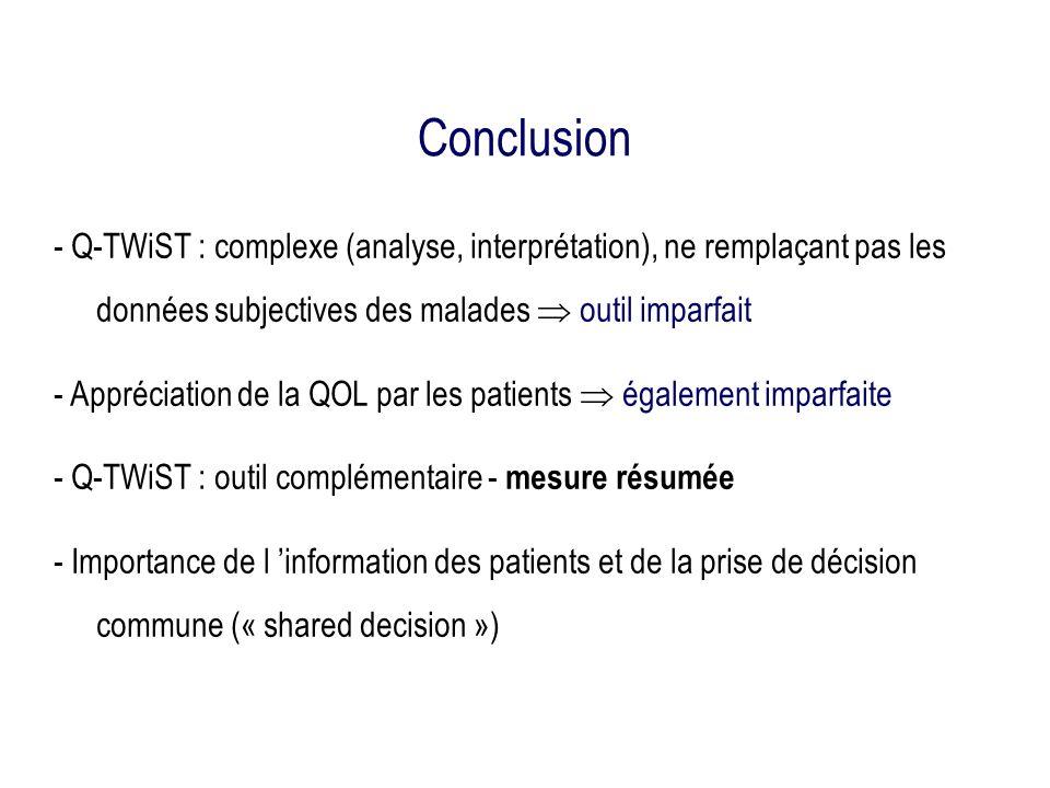 Conclusion - Q-TWiST : complexe (analyse, interprétation), ne remplaçant pas les données subjectives des malades  outil imparfait.