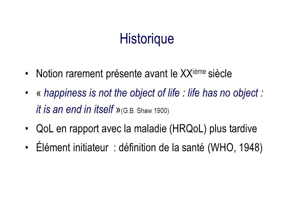 Historique Notion rarement présente avant le XXième siècle