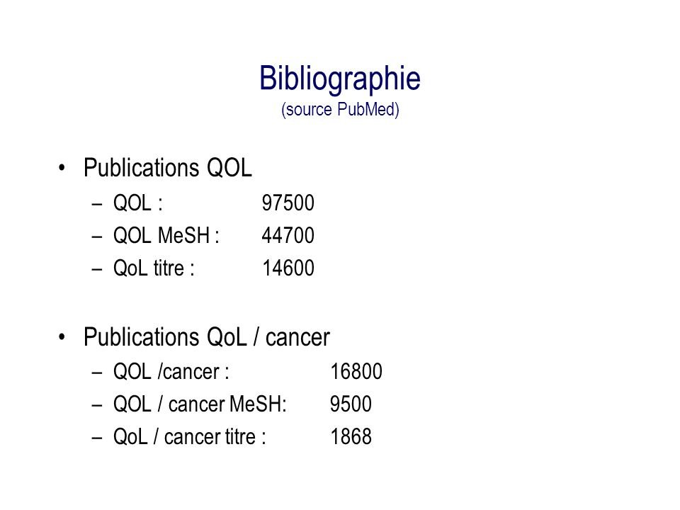 Bibliographie (source PubMed)
