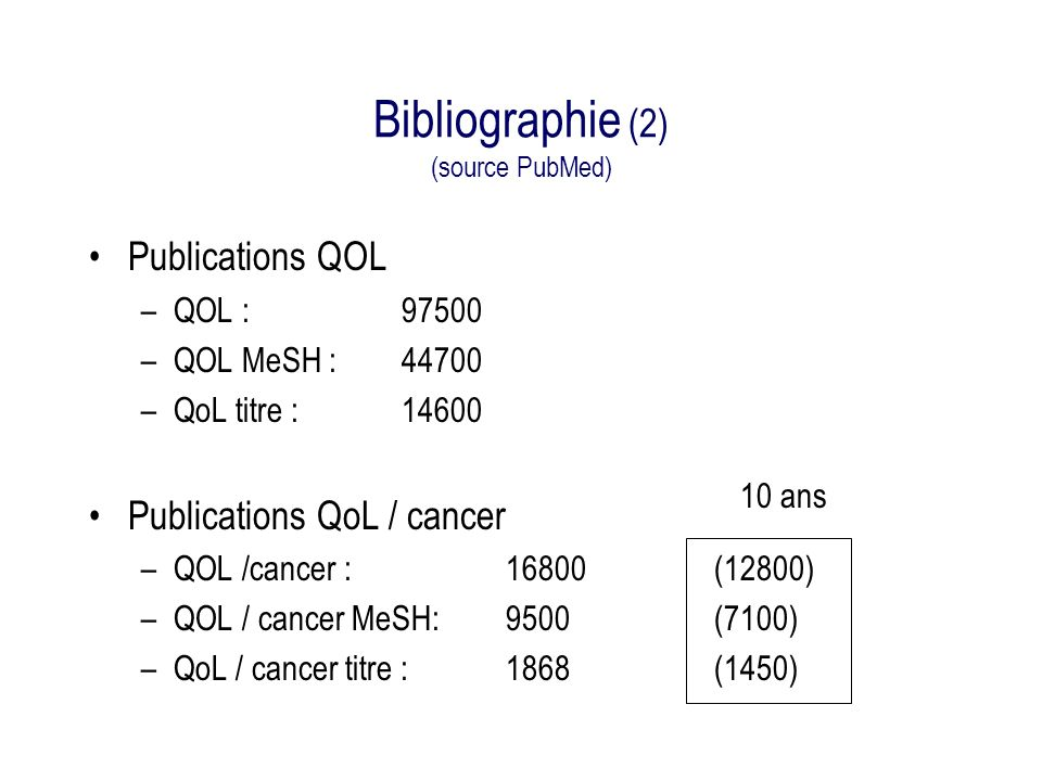 Bibliographie (2) (source PubMed)