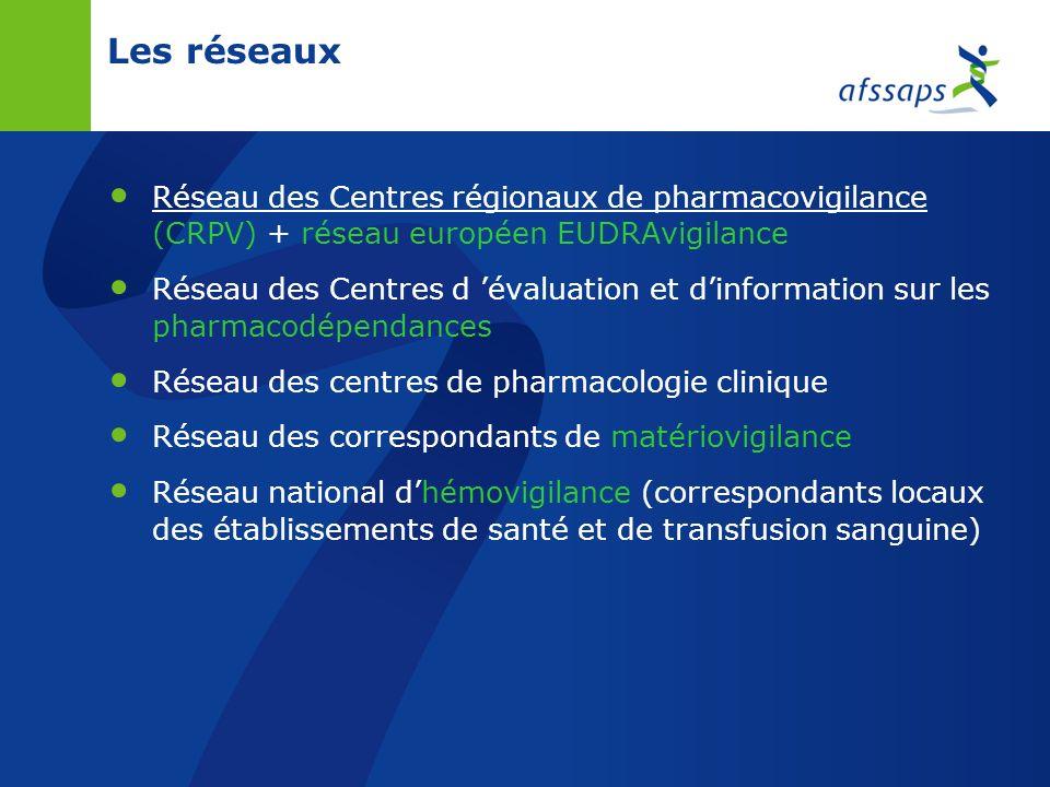 Les réseaux Réseau des Centres régionaux de pharmacovigilance (CRPV) + réseau européen EUDRAvigilance.