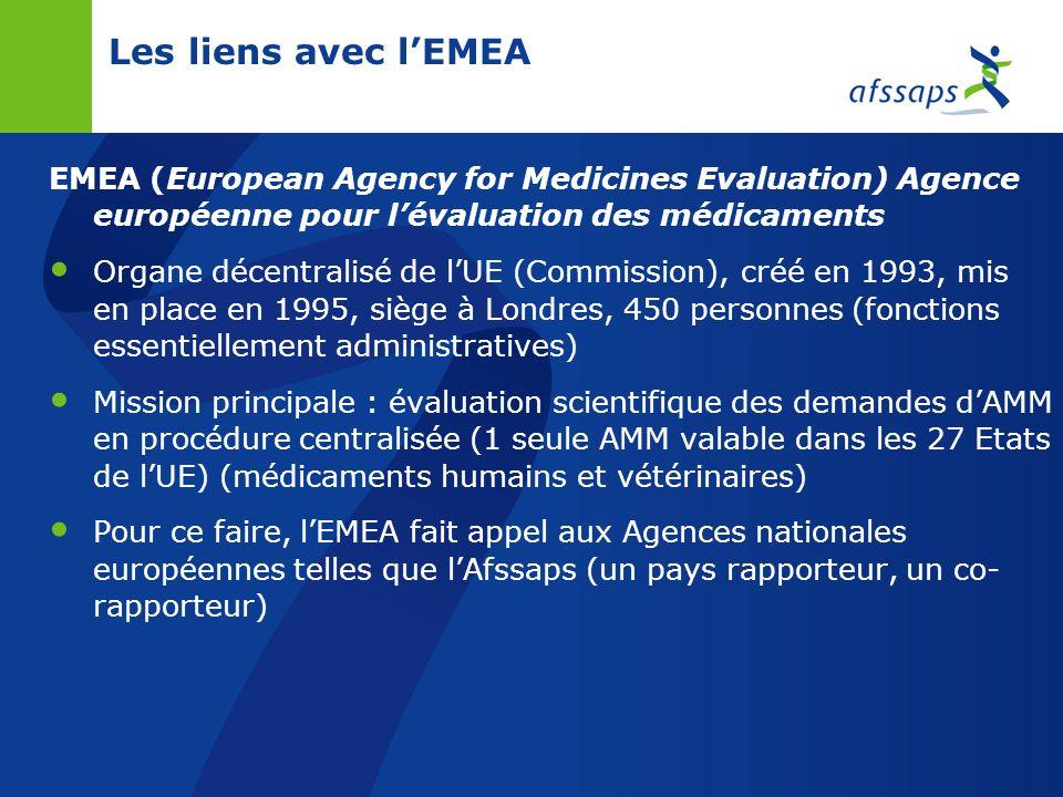 Les liens avec l'EMEAEMEA (European Agency for Medicines Evaluation) Agence européenne pour l'évaluation des médicaments.