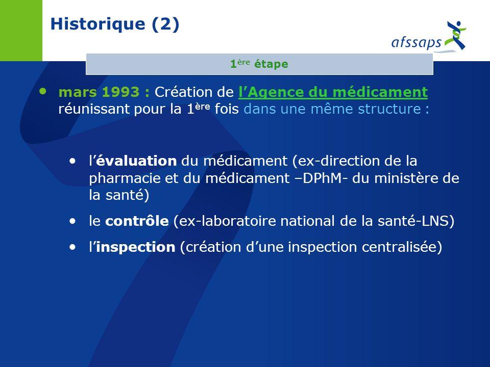 26/03/2017 Historique (2) 1ère étape. mars 1993 : Création de l'Agence du médicament réunissant pour la 1ère fois dans une même structure :