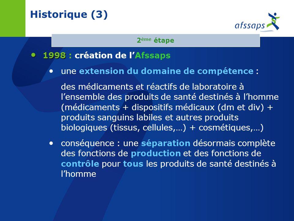 Historique (3) 1998 : création de l'Afssaps