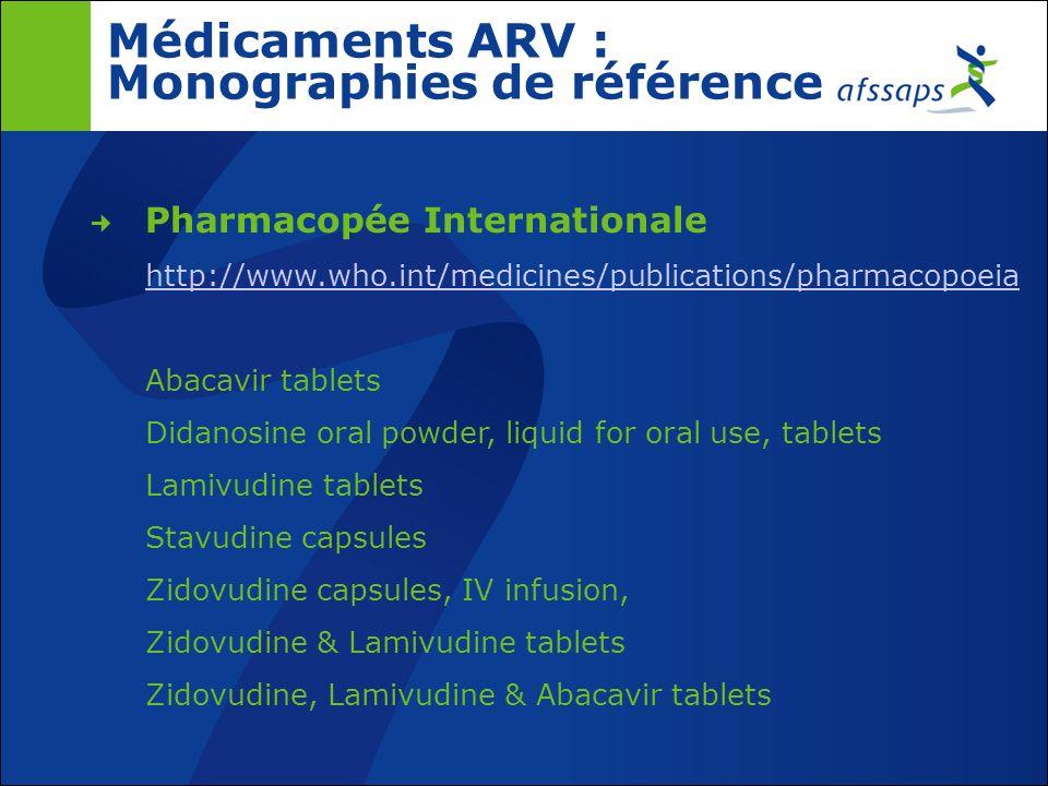 Médicaments ARV : Monographies de référence
