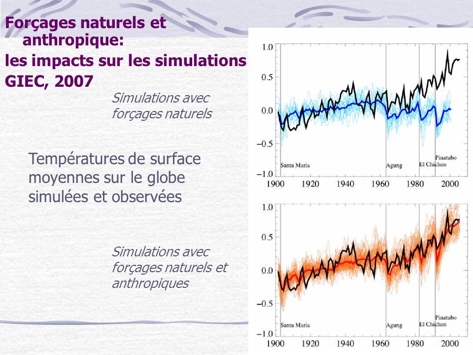 Forçages naturels et anthropique: les impacts sur les simulations