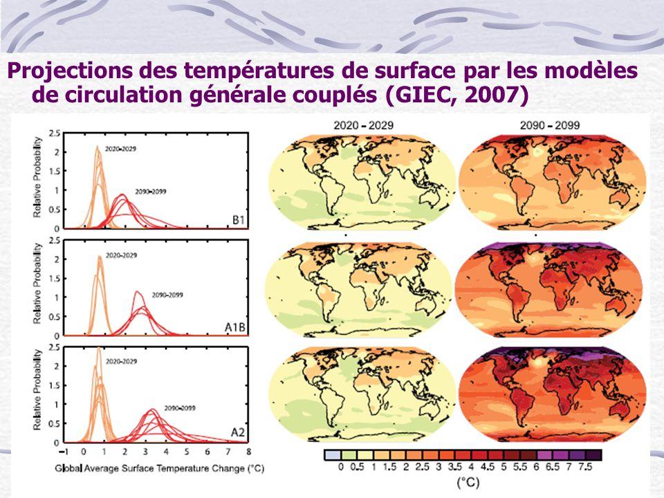 Projections des températures de surface par les modèles de circulation générale couplés (GIEC, 2007)