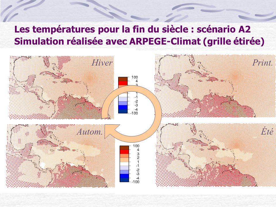 Les températures pour la fin du siècle : scénario A2