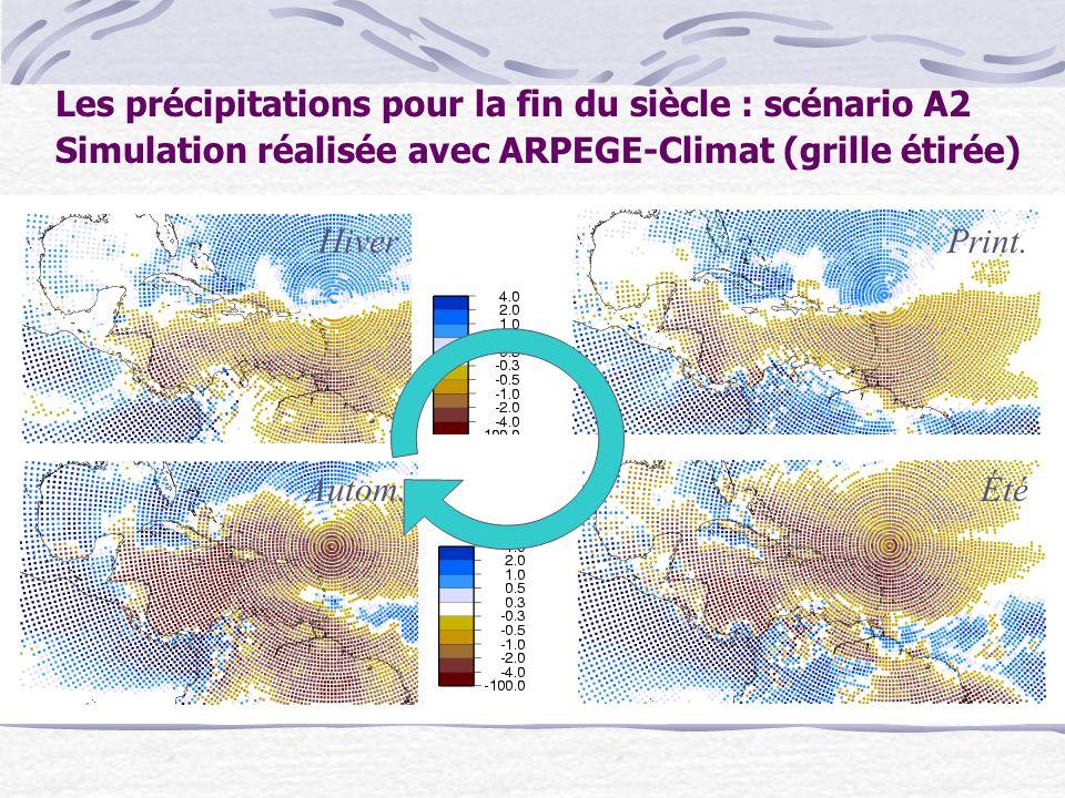 Les précipitations pour la fin du siècle : scénario A2