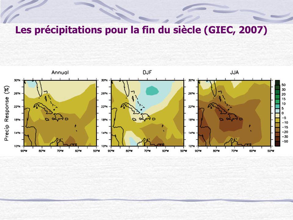 Les précipitations pour la fin du siècle (GIEC, 2007)