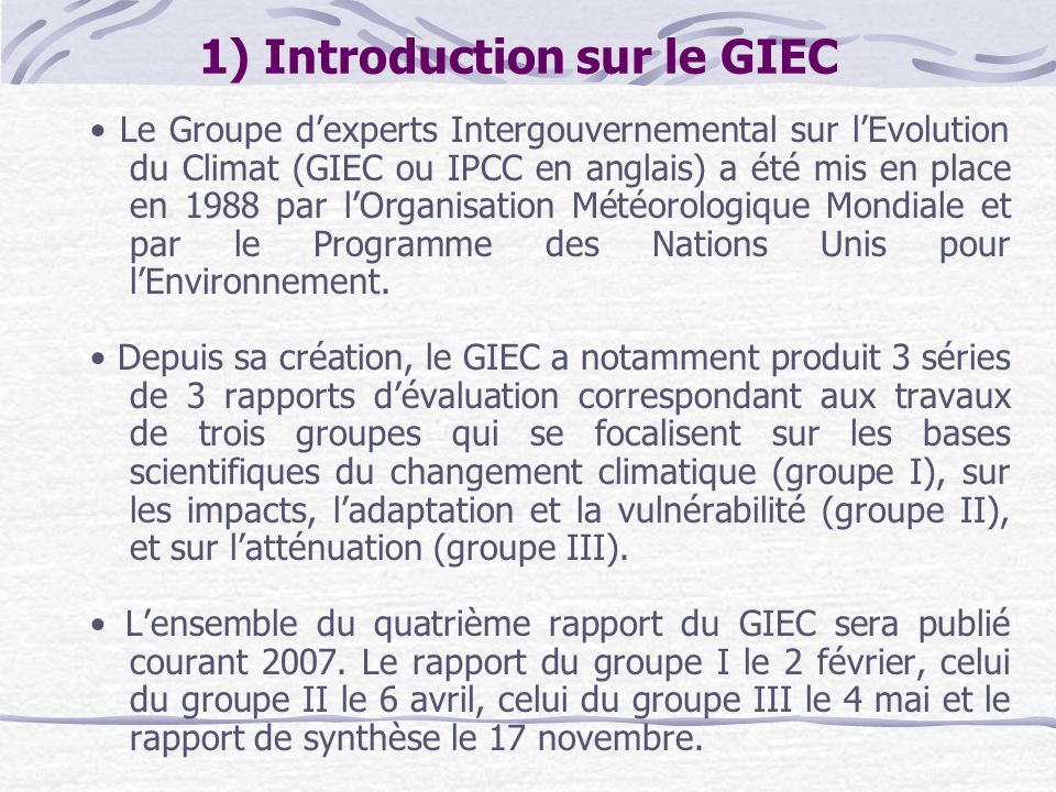 1) Introduction sur le GIEC