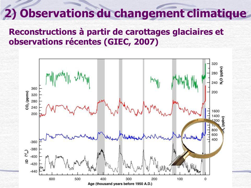 2) Observations du changement climatique