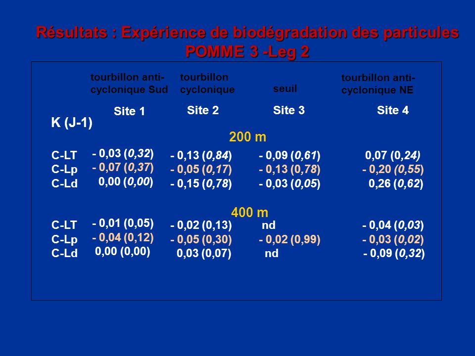Résultats : Expérience de biodégradation des particules