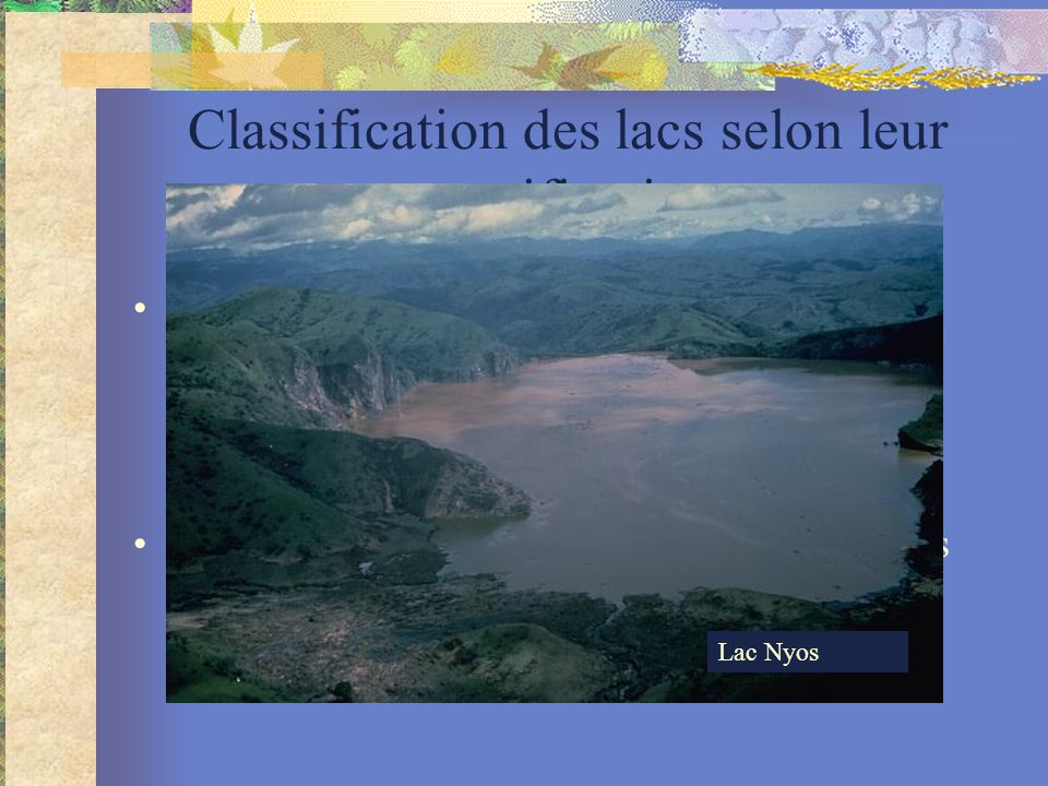 Classification des lacs selon leur stratification
