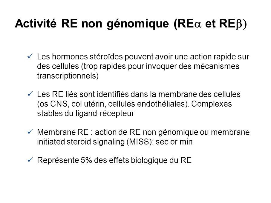 Activité RE non génomique (REa et REb)