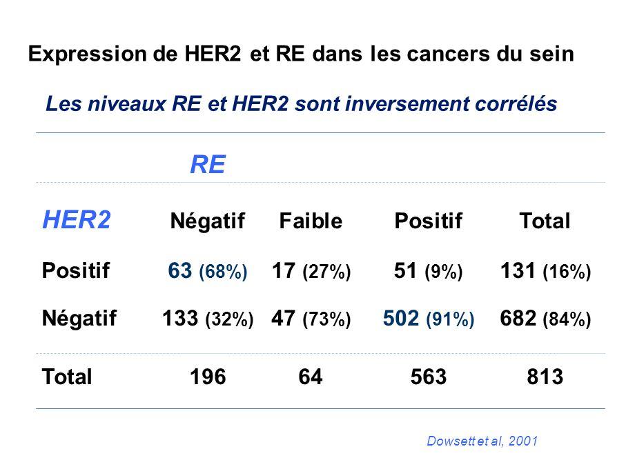 Expression de HER2 et RE dans les cancers du sein
