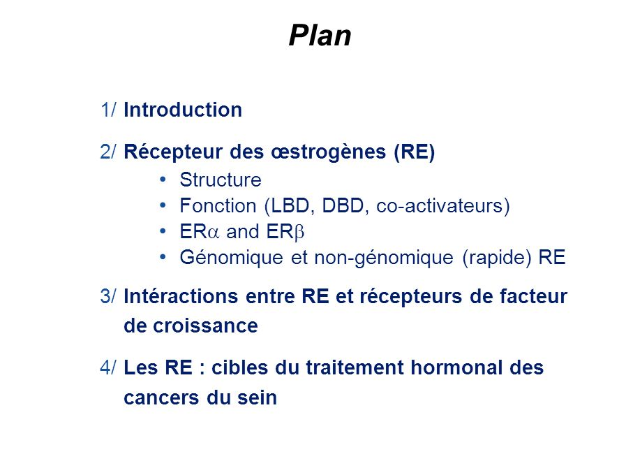 Plan 1/ Introduction 2/ Récepteur des œstrogènes (RE) Structure