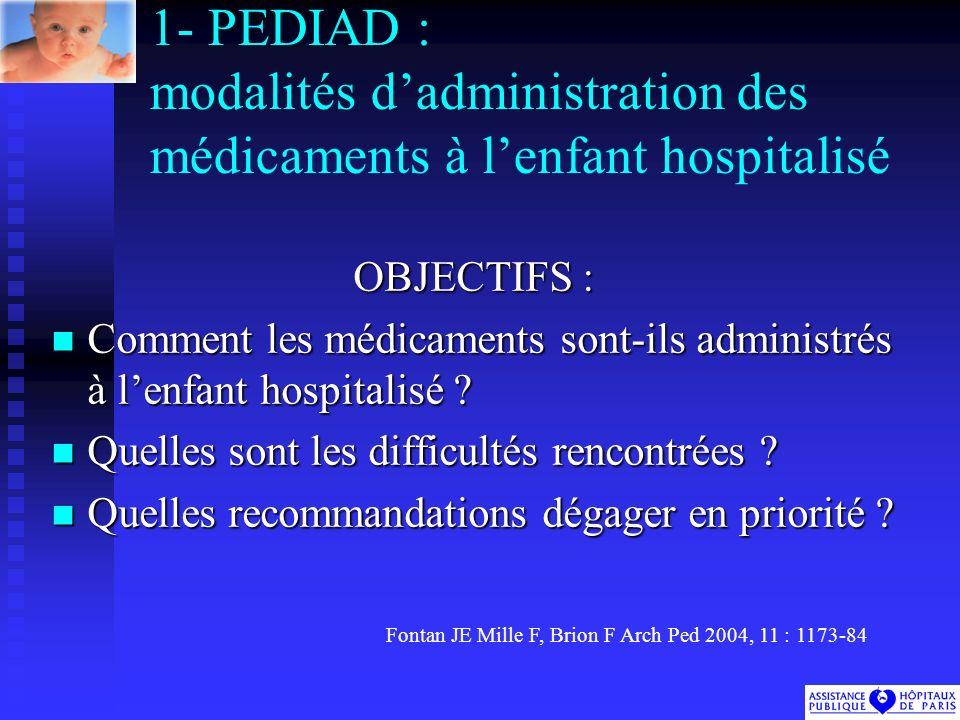 1- PEDIAD : modalités d'administration des médicaments à l'enfant hospitalisé