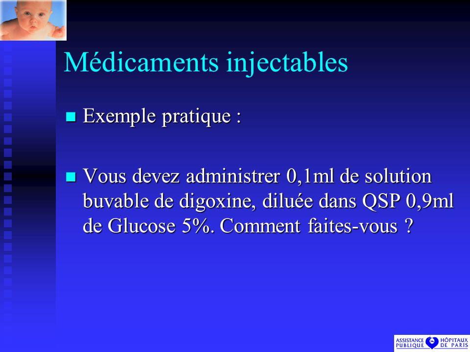 Médicaments injectables