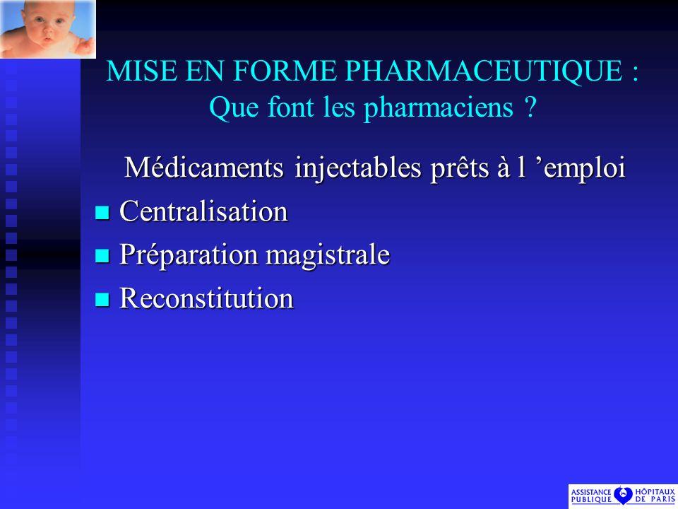 MISE EN FORME PHARMACEUTIQUE : Que font les pharmaciens