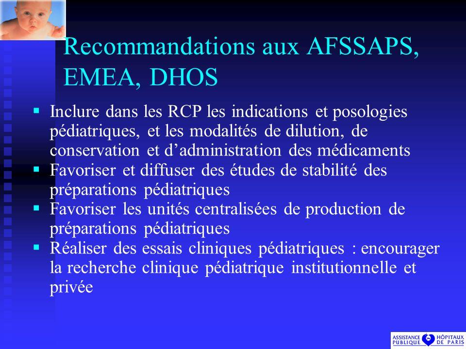 Recommandations aux AFSSAPS, EMEA, DHOS