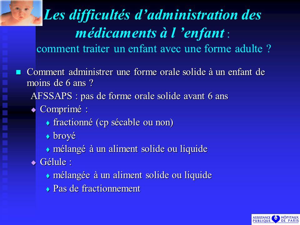 Les difficultés d'administration des médicaments à l 'enfant : comment traiter un enfant avec une forme adulte