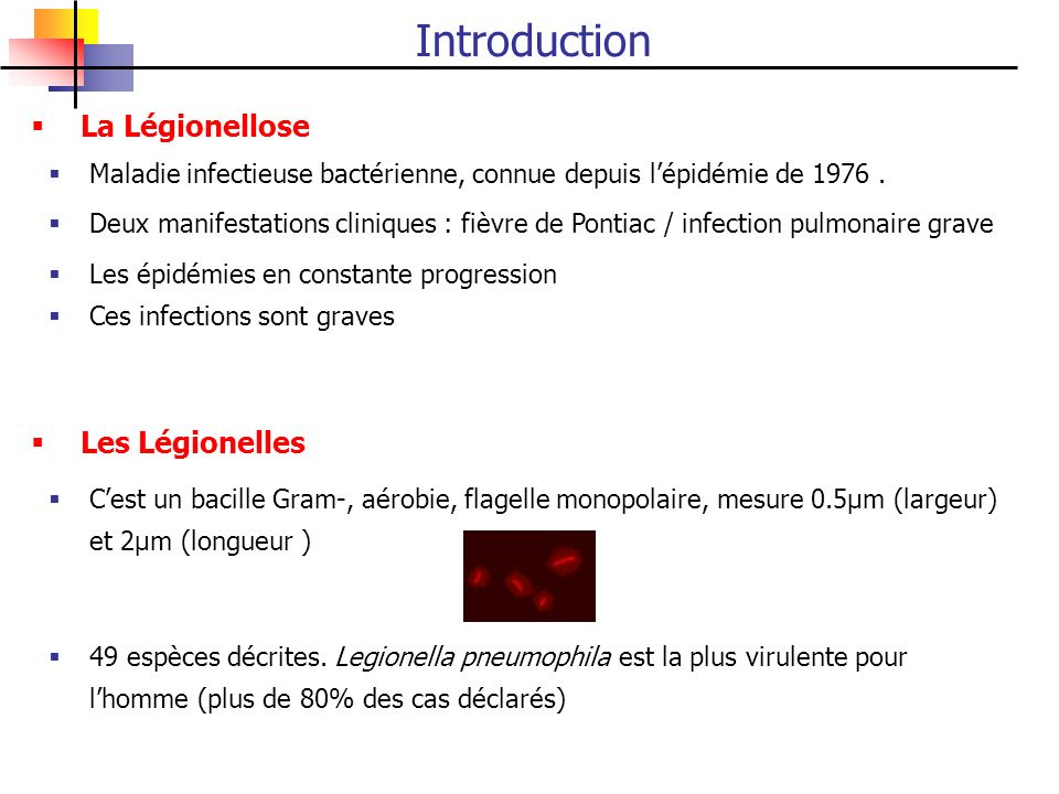 Introduction La Légionellose Les Légionelles
