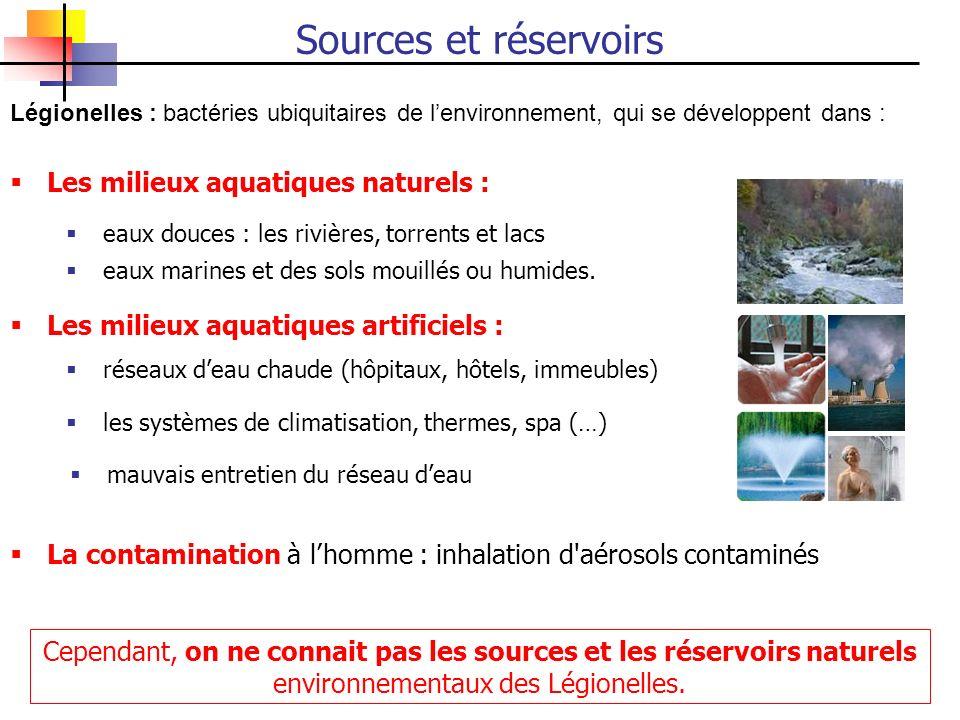 Sources et réservoirs Les milieux aquatiques naturels :