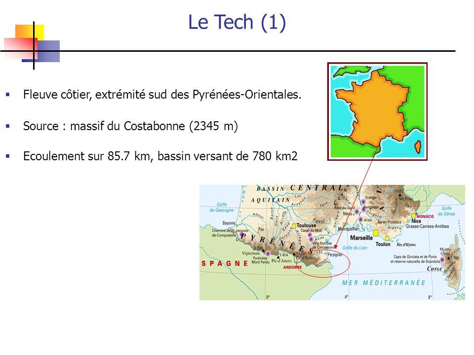 Le Tech (1) Fleuve côtier, extrémité sud des Pyrénées-Orientales.