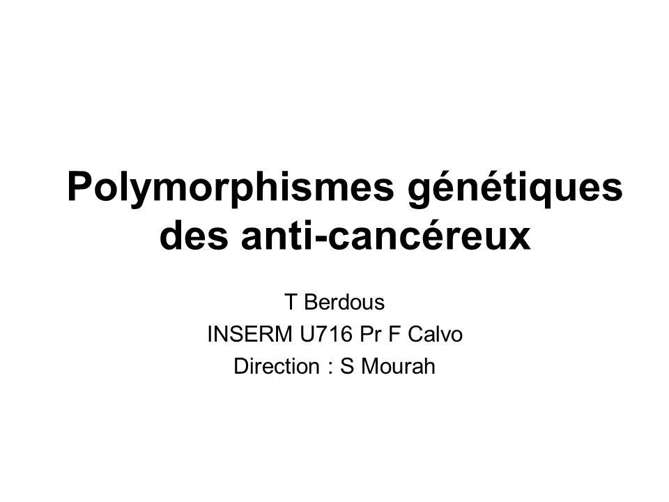 Polymorphismes génétiques des anti-cancéreux