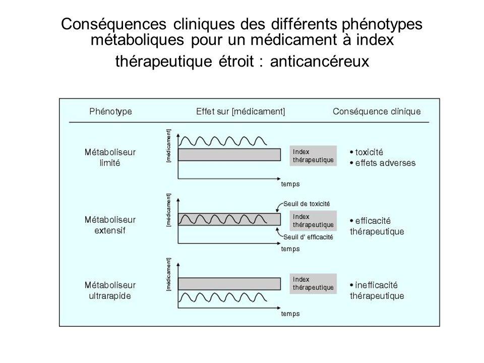 Conséquences cliniques des différents phénotypes métaboliques pour un médicament à index thérapeutique étroit : anticancéreux