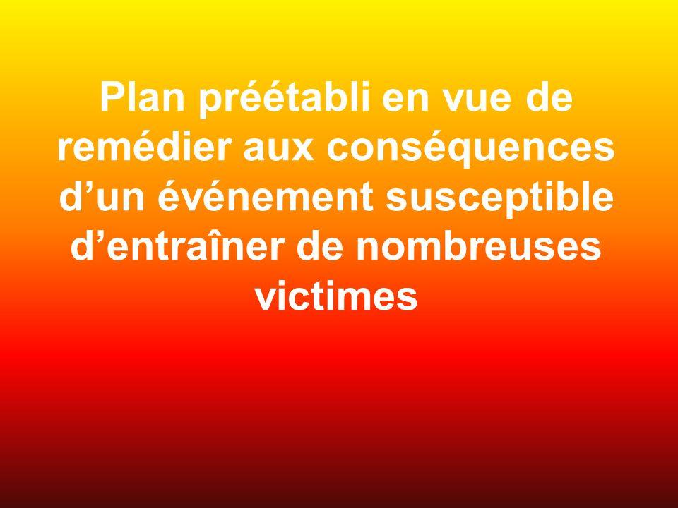 Plan préétabli en vue de remédier aux conséquences d'un événement susceptible d'entraîner de nombreuses victimes