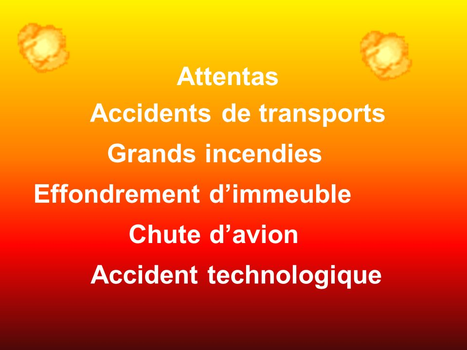 Accidents de transports Effondrement d'immeuble Accident technologique