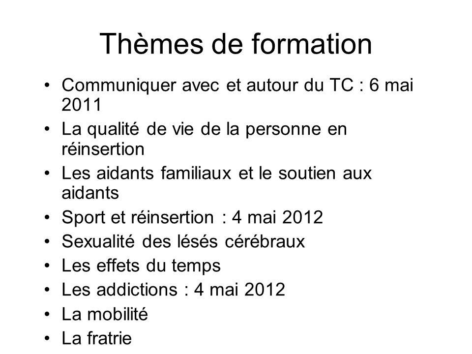 Thèmes de formation Communiquer avec et autour du TC : 6 mai 2011