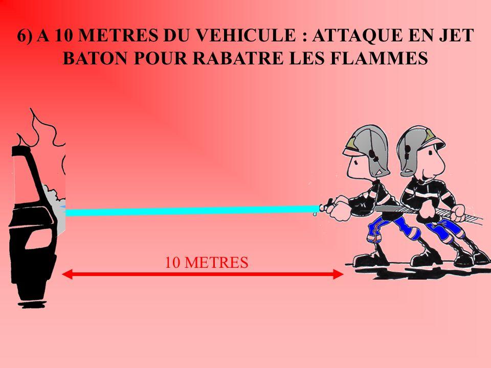 6) A 10 METRES DU VEHICULE : ATTAQUE EN JET BATON POUR RABATRE LES FLAMMES