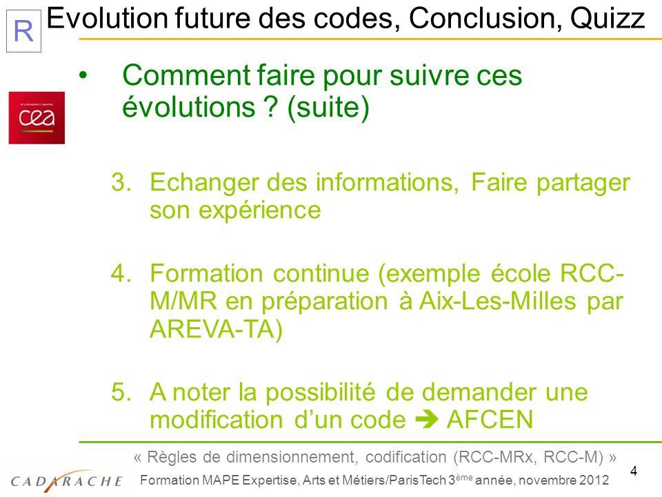 Evolution future des codes, Conclusion, Quizz