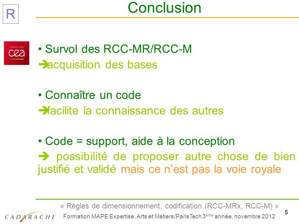 Survol des RCC-MR/RCC-M acquisition des bases Connaître un code
