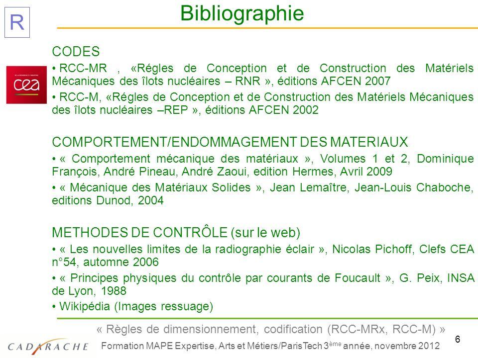 Bibliographie CODES COMPORTEMENT/ENDOMMAGEMENT DES MATERIAUX