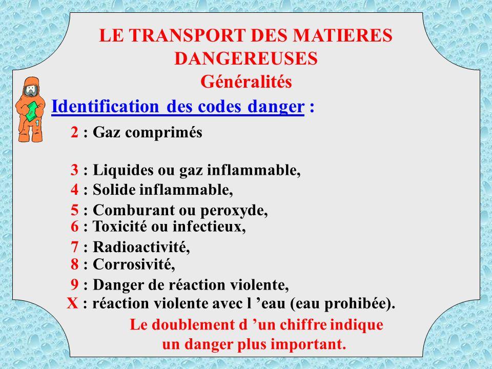 LE TRANSPORT DES MATIERES DANGEREUSES Généralités
