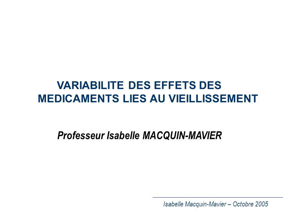 VARIABILITE DES EFFETS DES MEDICAMENTS LIES AU VIEILLISSEMENT