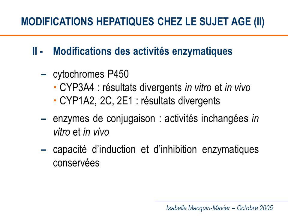 MODIFICATIONS HEPATIQUES CHEZ LE SUJET AGE (II)