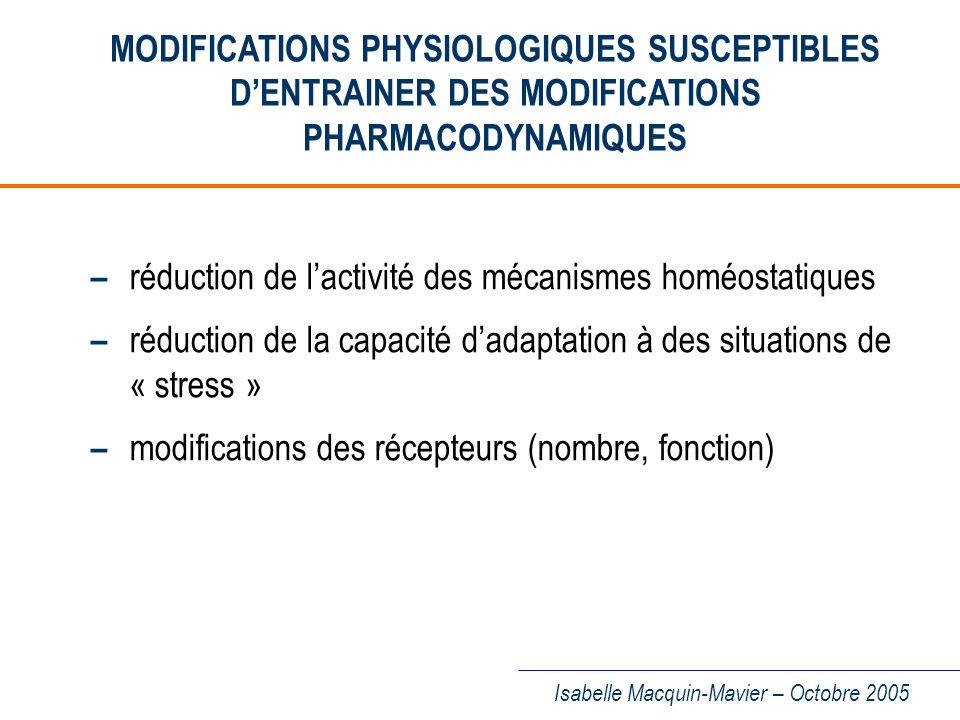 – réduction de l'activité des mécanismes homéostatiques