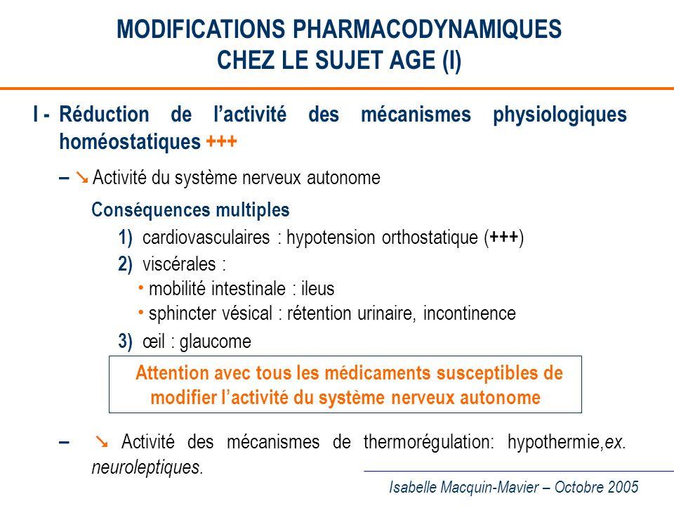 MODIFICATIONS PHARMACODYNAMIQUES CHEZ LE SUJET AGE (I)
