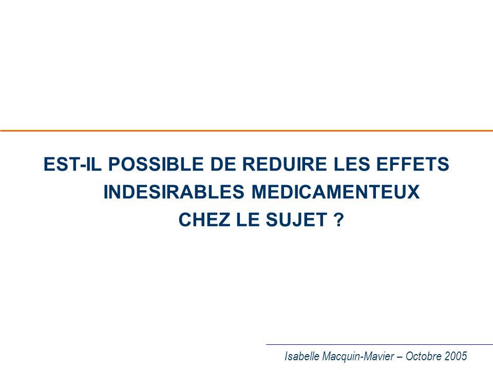 EST-IL POSSIBLE DE REDUIRE LES EFFETS INDESIRABLES MEDICAMENTEUX CHEZ LE SUJET
